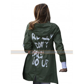 Melania Trump I Really Don't Care Green Cotton Coat