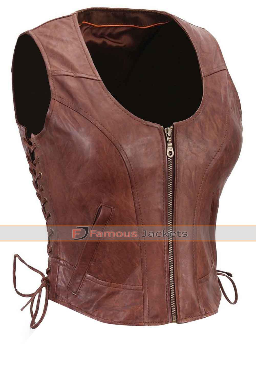 Walking Dead S4 Michonne Danai Gurira Leather Vest £ 87